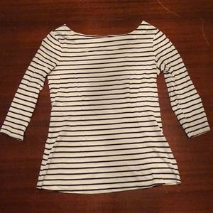 Tops - Final sale! Navy and white boat neck top